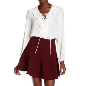 Pleione Lace-Up Ruffle Blouse